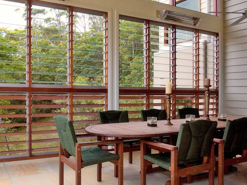 Outdoor rooms can still allow plenty of light and ventilation